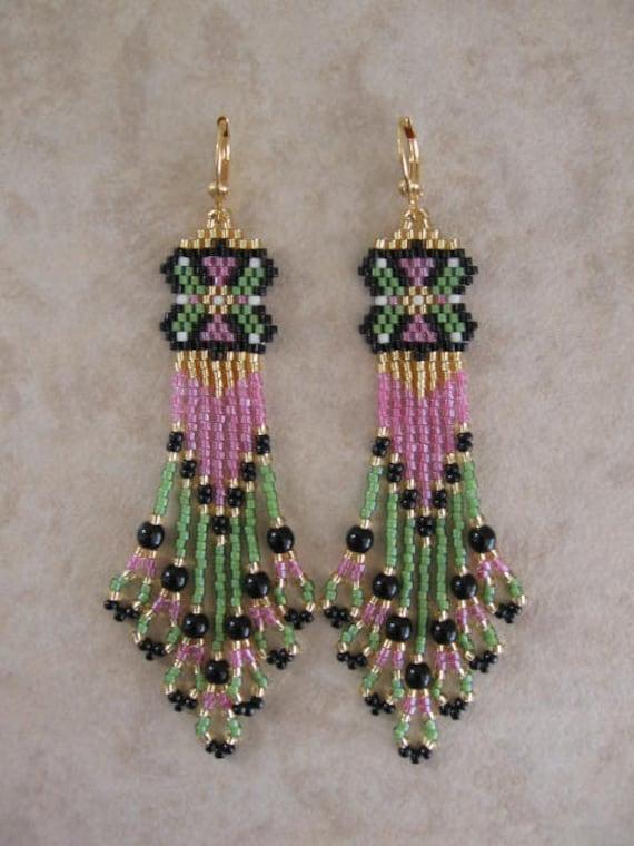 Beadwork - Seed Bead Beadwoven Earrings - Pink/Green - Free Shipping