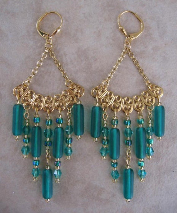Filigree Chandelier Earrings - Emerald Color