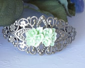 Bracelet,Antiqued Brass Cuff Style, Spring Green Resin Flower Cabochon