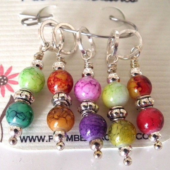 Rainbow of Five Beaded Stitch Markers for Knitting