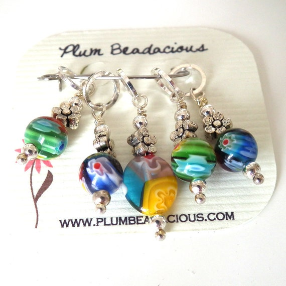 Five Millefiori Beaded Stitch Markers for Knitting