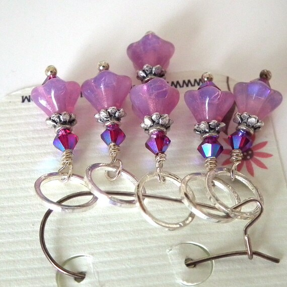 Five Beaded Raspberry Pink Czech Glass Flower Stitch Markers for Knitting