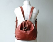 HOBO PACK with two outside pockets - mid size - leather backpack - two way bag  -  choose your leather color