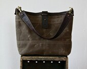 spring sale - 1909 TOTE  -  ships this week - waxed canvas tote - small - shoulder bag with iPad pocket and zip pocket