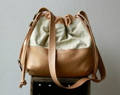 PILLOW PACK  XL 'three in one' -  fabric & leather backpack - double leather draw strings  for smooth closing
