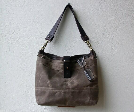 sale - 1909 TOTE  - ships same week -  waxed canvas tote - small - shoulder bag with iPad pocket and zip pocket