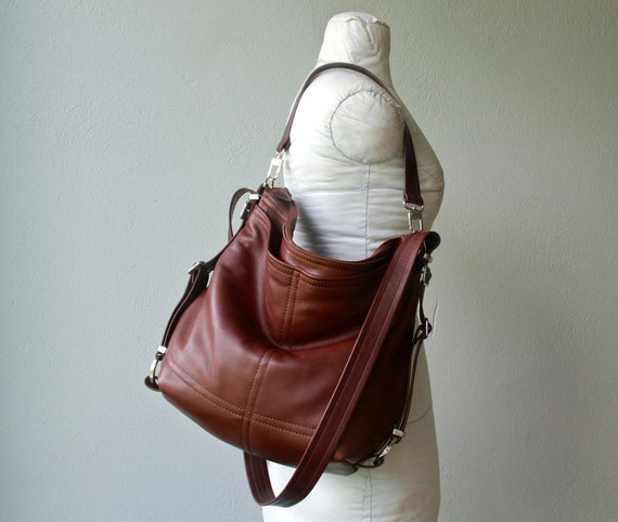 special price - ships today in Cocoa leather with Bronze hardware and upgrades - PETITE HOBO PACK 'three in one' - leather backpack