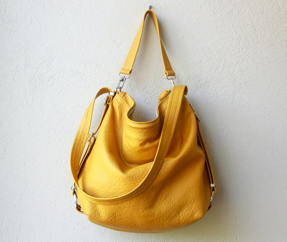 special price - ships today  as seen - XL HOBO PACK  'three in one' - leather backpack with iPad pocket and zippered pocket