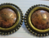 Vintage Brass and Goldtone Round Clip Earrings