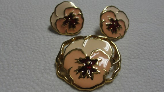 Cream Orange and Red Enamel Pansy Brooch and Pierced Earrings Set