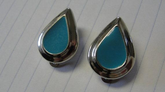 Blue enamel and Silvertone Teardrop Clip Earrings