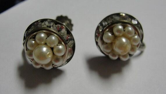 Simulated Pearl Sparkling Rhinestone Round Screw Earrings