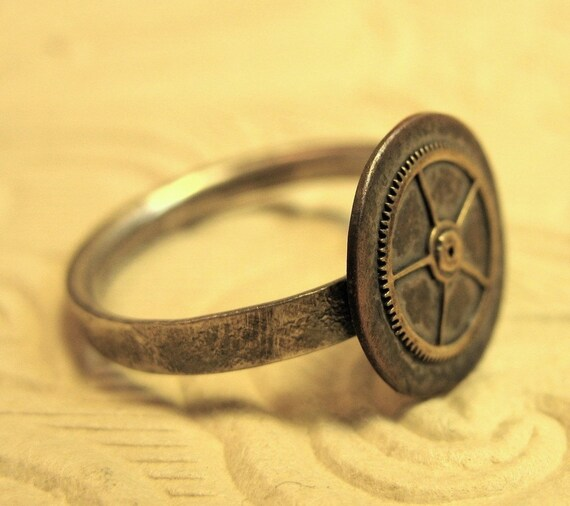 RESERVED Mixed metals steampunk ring