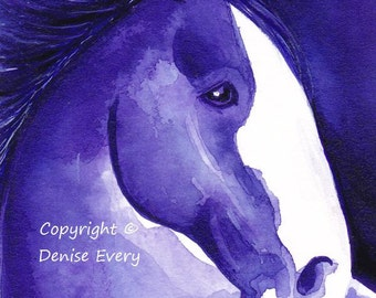 ACEO Clydesdale Horse Art Abstract Equine Art Purple Draft Horse Aceo 5x7 Print ATC (Free US Shipping)