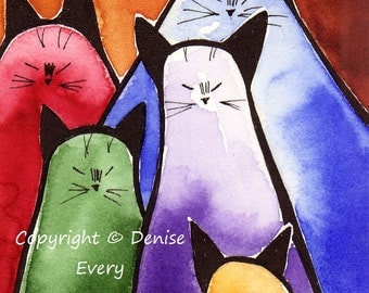 Abstract Siamese Kitties Bright Crayon Colors Whimsical Cat Art ACEO Print