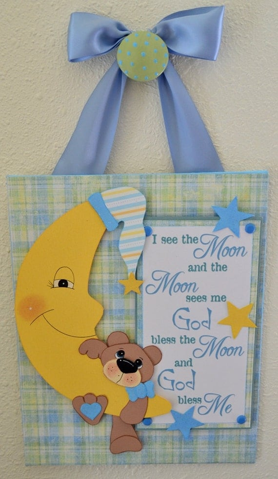 God Bless Baby Boy Moon and Bear 8x10 Canvas Panel Wall Art Hanging Mixed Media Scrapbooking