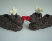Red-Nosed Reindeer Slippers  - Knitted  Animal Slippers for baby or child