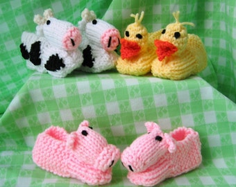 Cows Slippers Duck Slippers Pig Slippers Children's Animal Slippers Knitted Baby Animal Booties - Pick One