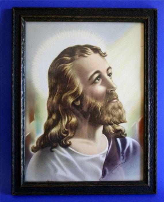 VINTAGE FORTIES McCONNELL JESUS PRINT 1942 WOOD FRAME