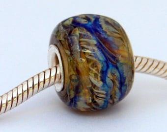 Lampwork Big Hole Encased Silver Glass  European Charm style Bead, SRA