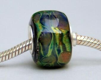 Lampwork Big Hole European Charm Style Blue / Green Bead, SRA