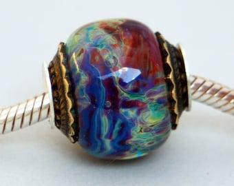 Lampwork European Charm Style Multicolor Big Hole Bead, SRA