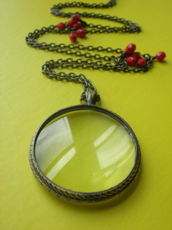 Through the Looking Glass Necklace in Cherry Red