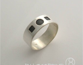 Sterling Silver Band with Oxidized Shapes