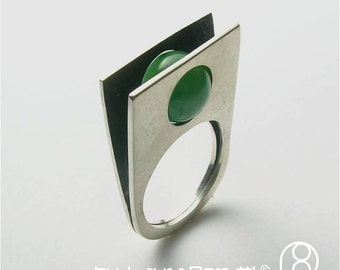 Sterling Ring with Round Jade Stone