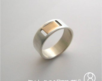 Sterling Silver and 14K Gold Band with 2 Slits