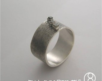 Sterling Silver Band with 3 Raw Uncut Diamonds