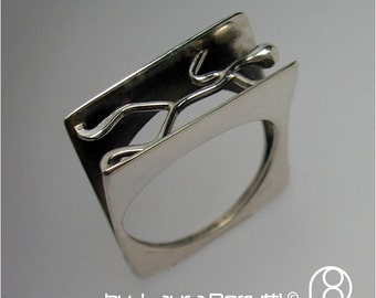 Sterling Silver Ring with Stick Man Pushing
