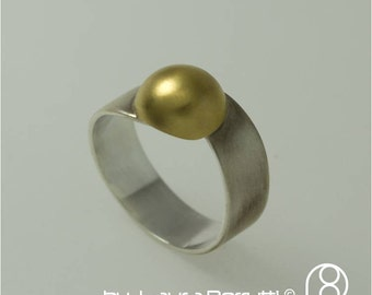 Sterling Silver and 14K Gold Dome Ring
