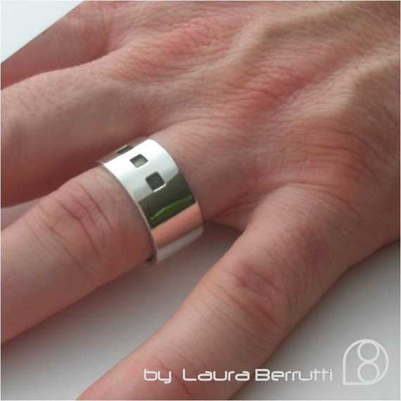 Sterling Silver Band with Oxidized Squares