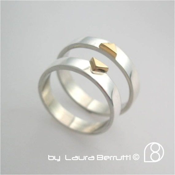 Sterling Silver Band Ring with 14K Gold Triangle