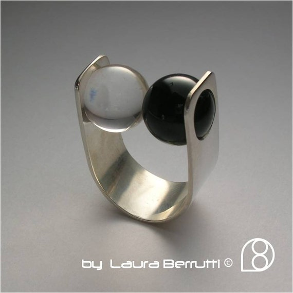 Sterling Ring with Onyx and Crystal Rock Spheres