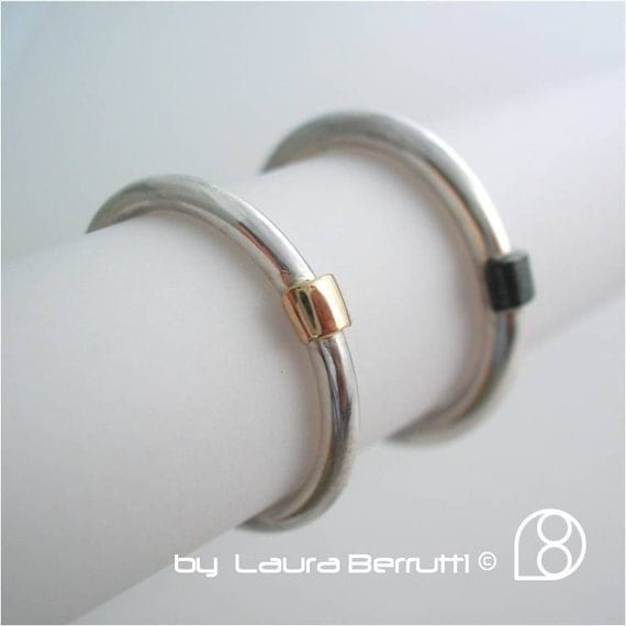 Sterling Silver Bands with 14K Gold and Oxidized Sterling Bridge Details