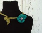4 petal felt flower choker necklace, no.4 - handmade
