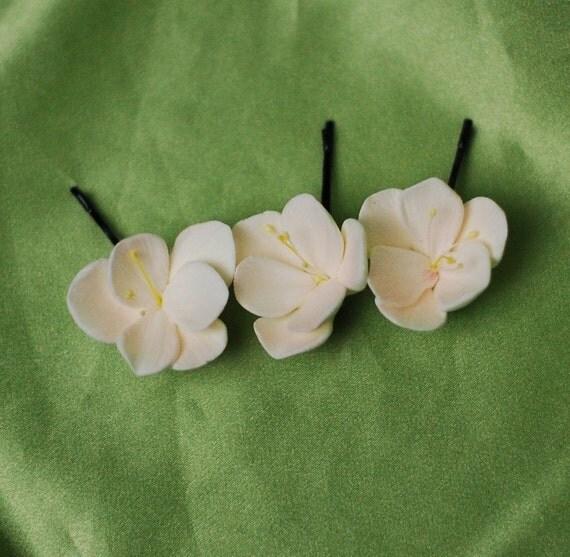 Trio of Soft Pink Chardonnay Freesia Hair Pins