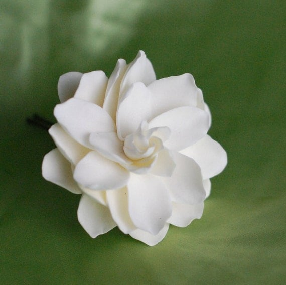 MidoriDesigns Signature Hawaiian Gardenia in Bloom Bridal Hair Pin in Ivory Pearl