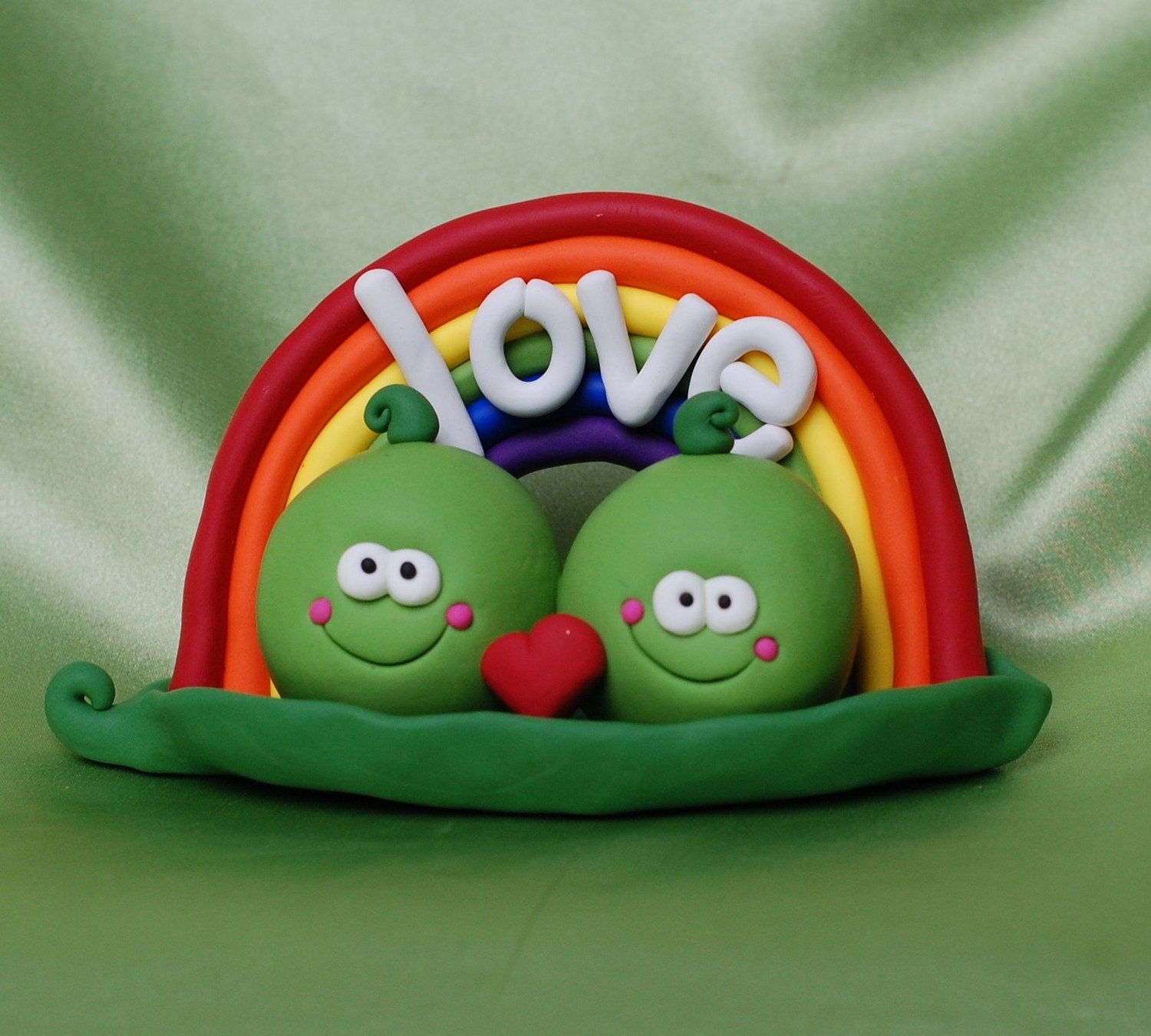Just Two Peas in a Pod Cake Topper
