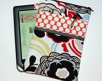 Mocca and Full Moon Polka Dot Cherry - iPad Mini / Kindle / Nook / Nexus 7 Padded Cover with Front Pocket