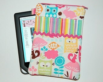 Forest Life and Stripes - iPad Mini / Kindle / Nook / Nexus 7 Padded Cover with Front Pocket