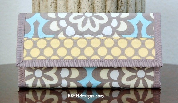 PATCHWORK TRIFOLD WALLET ORGANIZER in Amy Butler's Wall Flower Sky and Full Moon Polka Dot Yellow