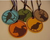 The Woods Are Lovely, Dark and Deep -- A set of 10 tags (with ribbon)