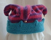 Berry Stripes Knitted Jester Hat-In Stock