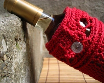 Crochet Pattern - Leaf and Lace Wine Bottle Cozy
