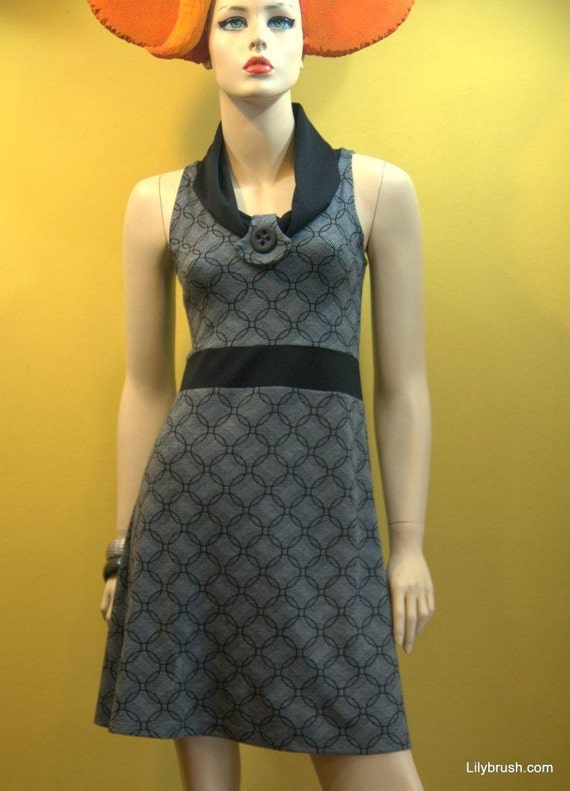 Retro MOD winter jersey dress with a wide draped collar in shades of gray and black  pattern  - just 60 usd instead of 120 usd