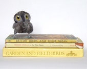 Needlefelted Owl Baby Cute and Fluffy Natural Grey