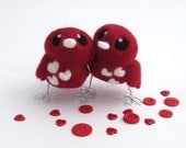 Wine Red Bird Wedding Cake topper Red and White Love Birds